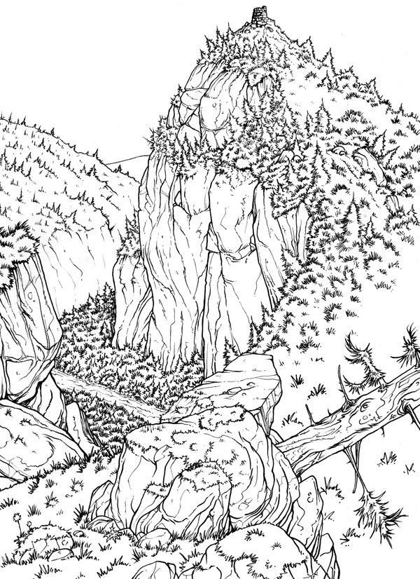 Disegno Da Colorar Antistress Montagna Valle 1