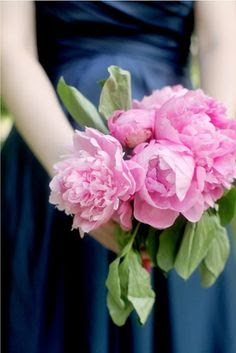 Navy bridesmaid dresses with pink bouquets - lovely!