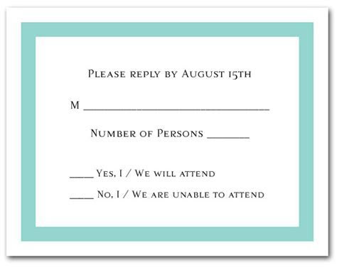 Tiffany Blue Border RSVP Cards, Reply cards, Response Cards