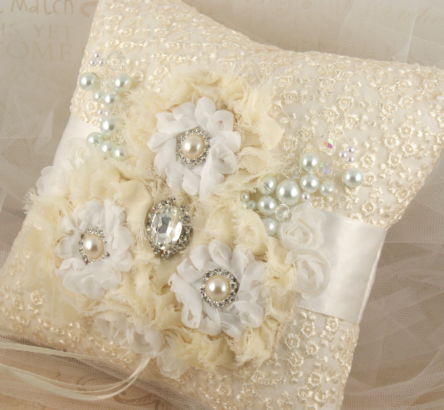 Bridal Ring Bearer Pillow and Flower Girl Basket in White and Ivory with Lace, Chiffon, Tulle and Jewels