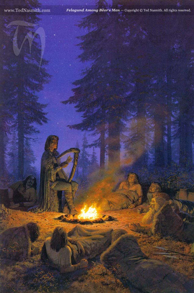 An elf playing a harp by a campfire and many waking men