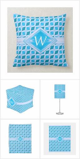 Aqua Diamond Pattern Monogram Home Decor - ADS1P