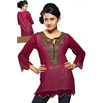 Indian Selections-Fine Georgette Kurti w/ handcrafted neckline and liner -Small