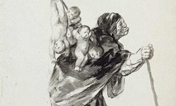 Detail from Goya's drawing of a woman carrying a bundle of babies
