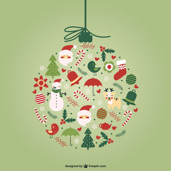 フリー素材 サンタや雪だるまに鳥などをクリスマスボールの形
