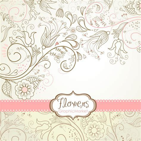 8 Flower Designs digital paper and a floral border Clipart