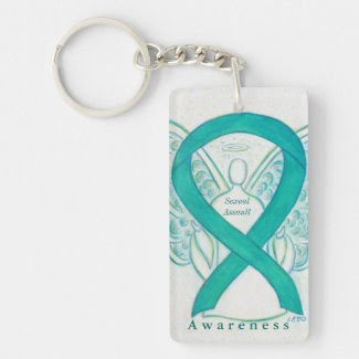 Sexual Assault Angel Awareness Ribbon Keychain