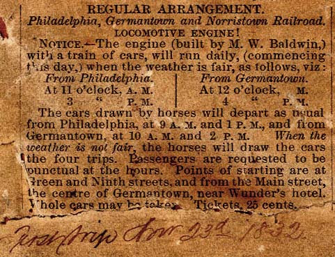Philadelphia, Germantown and Norristown Railroad, 1832 Timetable