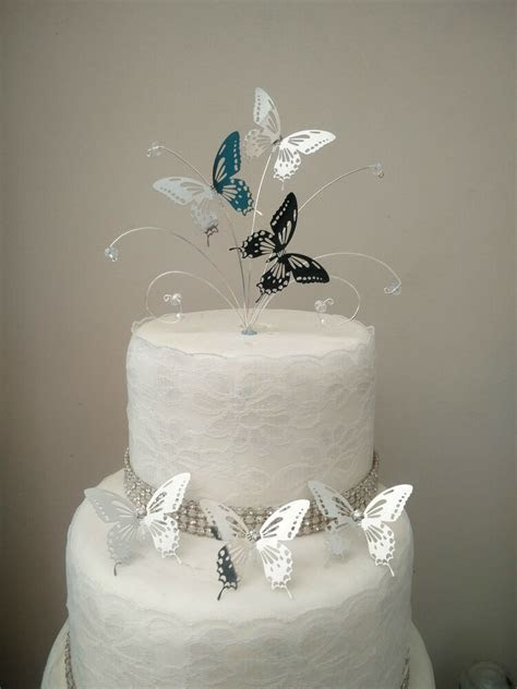 Mini Silver butterfly wedding cake topper   3 butterfly
