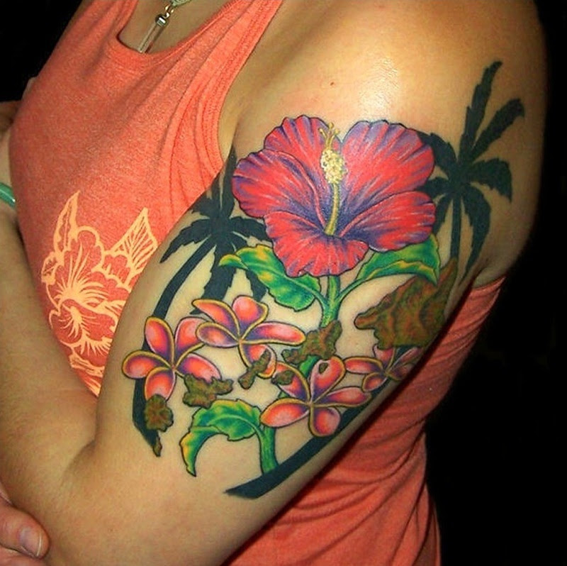 Hibiscus Flower Tattoo Design On Upper Arm Tattoos Book 65000