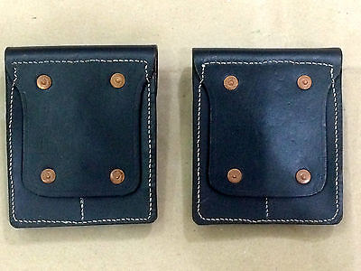 WWII US BLACK Leather .45 Double Magazine Pouch Repro. x 2 units