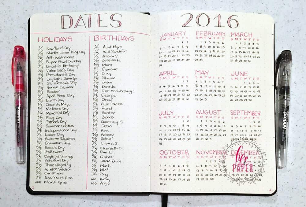 Resultado de imagen para bullet journal calendar