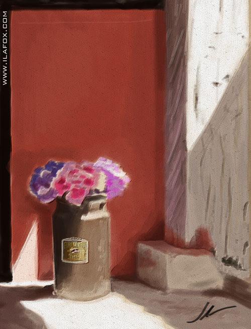 flor azaléia numa leitera no sítio