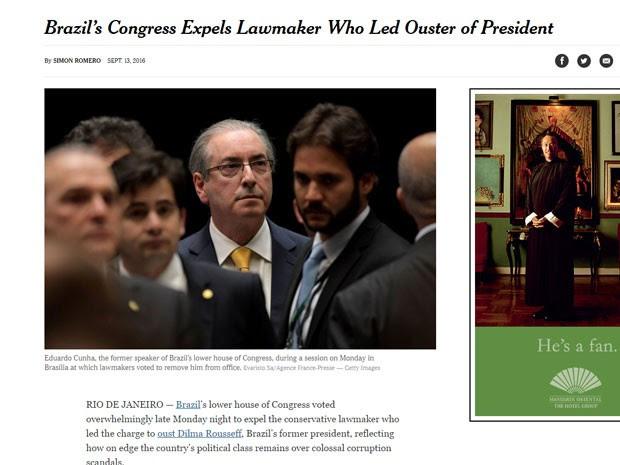 NY Times fala em votação 'esmagadora' contra Cunha (Foto: Reprodução/The New York Times)
