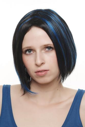Perücke Bob Schwarz Blaue Strähnen Mittelscheitel Sa048 2b061