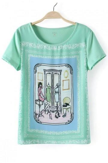 Girl & Mirror Print T-shirt in Light Green