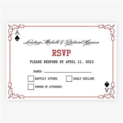 Las Vegas Wedding Invitations   RSVP   Elegant Playing