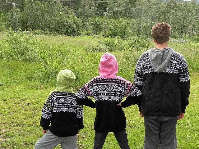 Marius jackets knitted by grandma :)