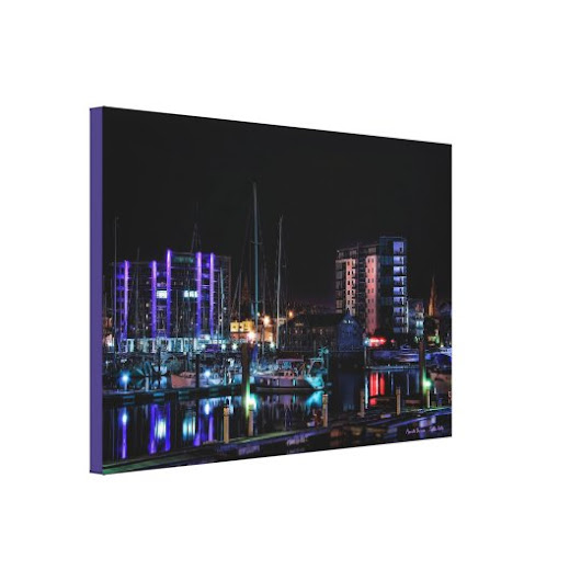 Plymouth Barbican View by Night - wrapped canvas