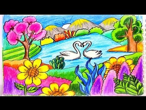 رسم منظر طبيعي بسيط وسهل للاطفال Makusia Images