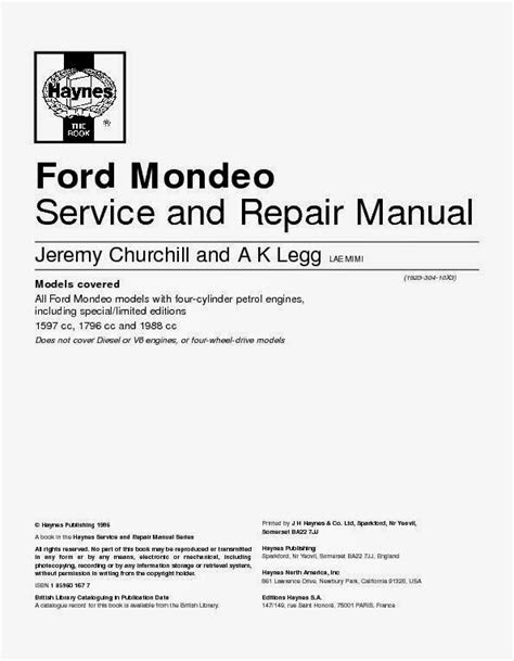 Wiring Diagrams and Free Manual Ebooks: All Ford Mondeo