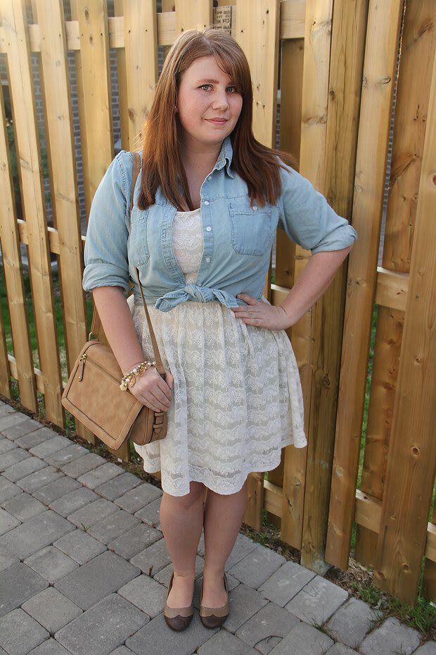 blog wanderlust whimsy megan outfit style fashion denim chambray ootd white lace dress target h&m