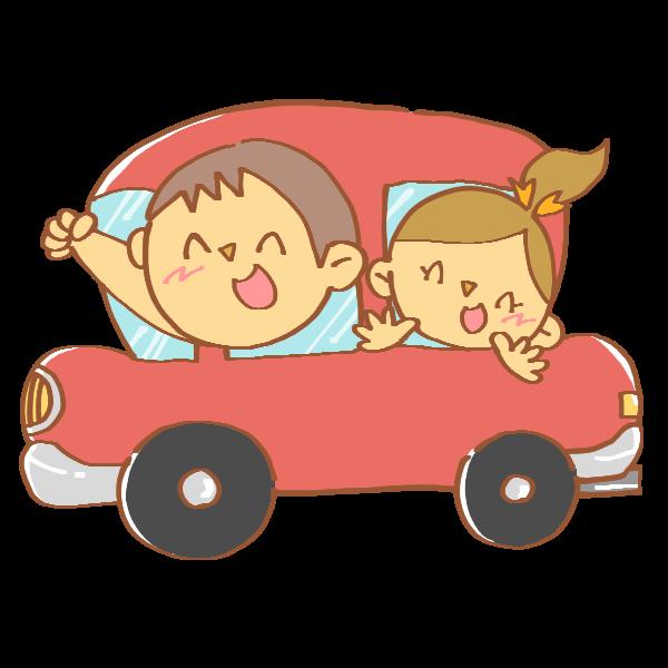 車でお出かけする家族のイラスト かわいいフリー素材が無料のイラスト