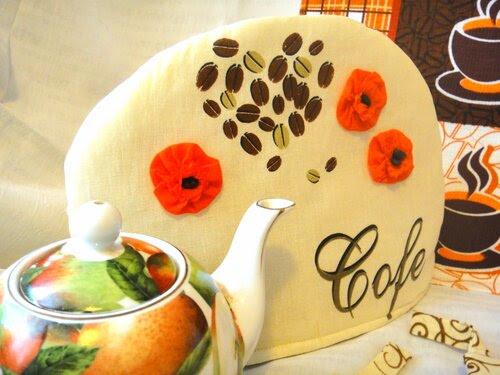 Кофейный комплект для кухни: прихватки, грелка для чайника, полотенце