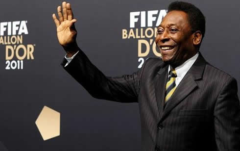 The King Pelé saluting at FIFA Balon d'Or 2011-2012 gala and ceremony