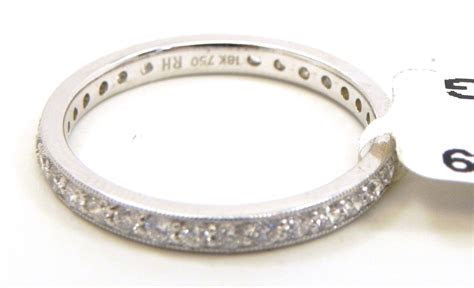 Ladies 18k White Gold Diamonds Eternity Wedding Band