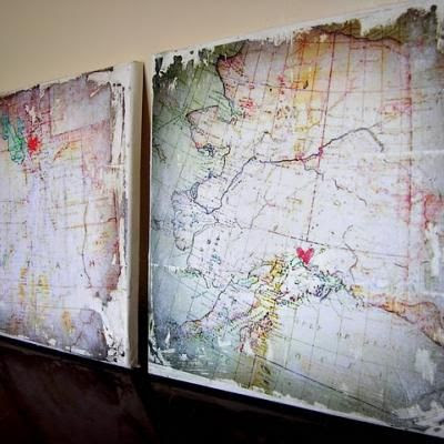 maps on canvas