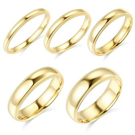 14K Yellow Gold 2mm 3mm 4mm 5mm 6mm Comfort Fit Men Women