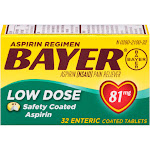 Bayer Low Dose Safety Coated Aspirin Enteric Coated Tablets, 81 mg - 32 count