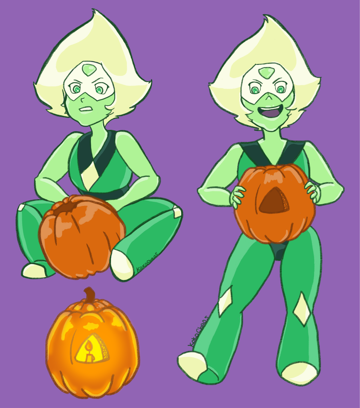 "TSinktober Day 7 @thatsthat24 - Peridot is going to have to be taught a lot about this time of year. Draw one of those moments. PUMPKIN CARVING TIME! ""Look, Steven! I have mastered your so called..."
