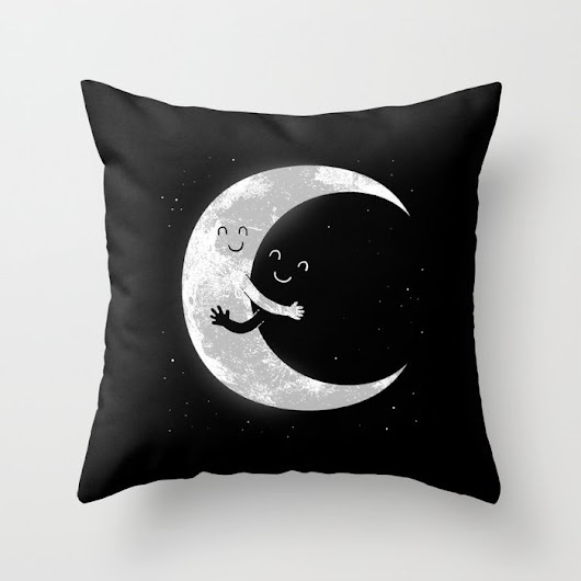 Moon Hug throw pillow by Carbine - Beautiful Art And Photography