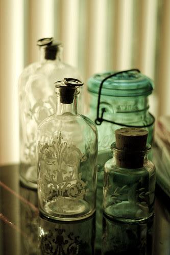 bottles in the morning light