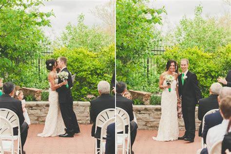 Wedding ceremony under pavilion in outdoor garden at The