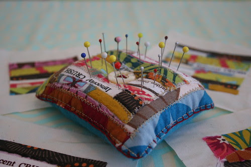 scrappy selvage pin cushion
