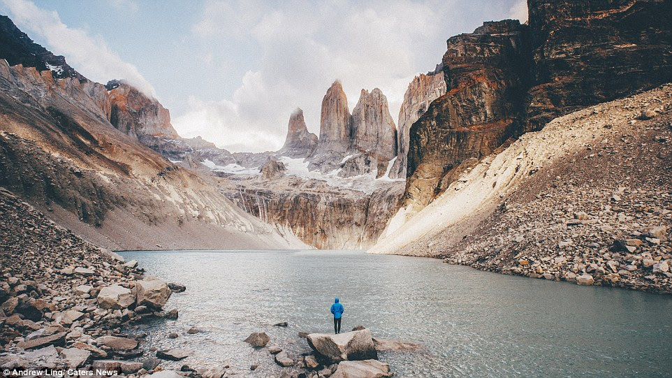 Andrew  sometimes photographs himself in the images by finding a vantage point from which to shoot and running as far away from the camera as possible while his equipment shoots continuously on a self-time. Pictured Torres del Paine National Park, Patagonia, Chile