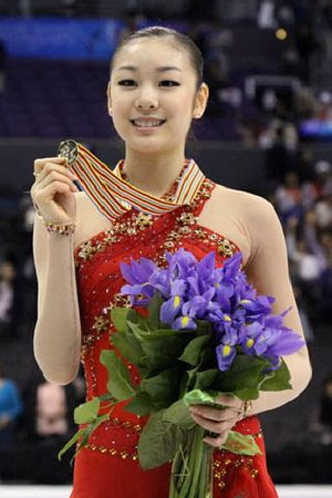 Kim Yu-Na (KOR) during the medals ceremony at ...