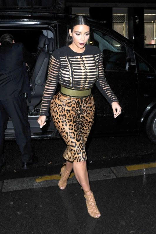 kim-kardashian-vogue-party-balmain-fall-2014-black-long-sleeve-rope-detailed-top-leopard-high-waist-pencil-skirt-hermes-suede-strappy-sandals-1