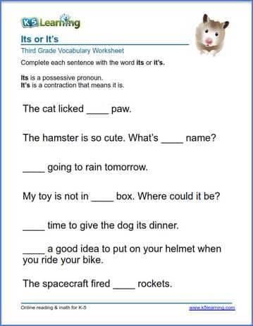 Grade 3 Vocabulary Worksheet Use Of Its Or It S