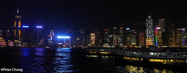 Hong Kong skyline as photographed from the Star Ferry terminal at Tsim Tsa Tsui
