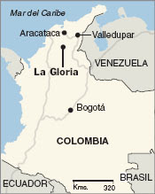 Columbia, La Gloria, the center of Biblioburros, Aracataca and Valledupar