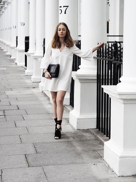 Le Fashion Blog Date Night White Dress Black Sandals Black Large Clutch Via Chelcienicolem