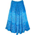 TLB Sky Blue Summer Tie Dye Cotton Long Skirt