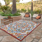 """Elements Indoor/Outdoor Citra Medallion Area Rug, Ivory, 5'3"""" x 7'5"""""""