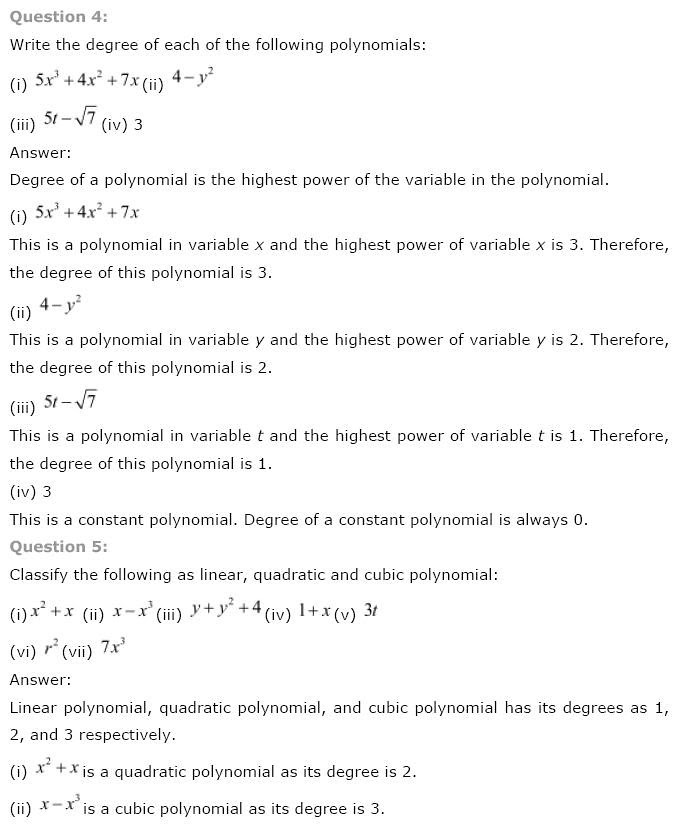 NCERT Solutions for Class 9th Maths Chapter 2 Polynomials