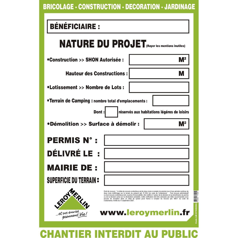 Acheter panneau affichage permis de construire for Depot permis construire