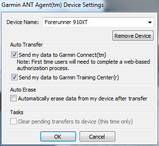 Garmin FR910XT ANT Agent Configuration